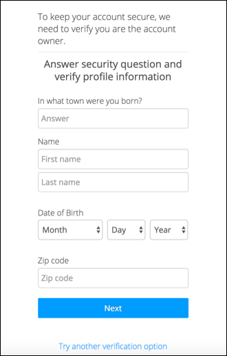 confirm profile information