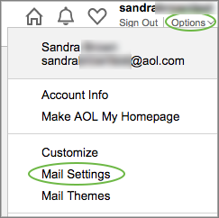 Image of the Mail Settings menu.