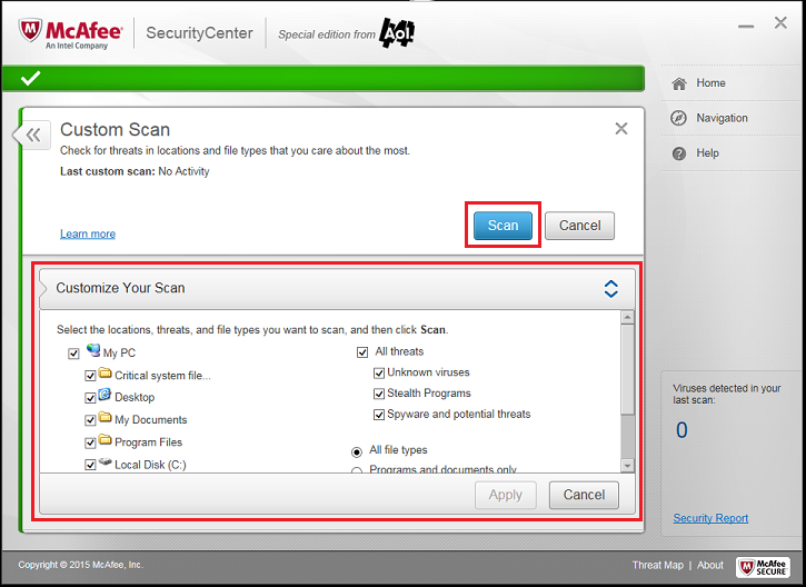 Using McAfee: Features - AOL Help