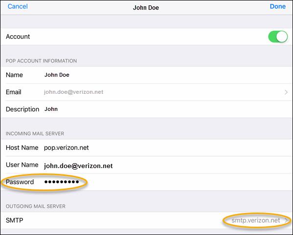 Update Verizon net account info in POP3 email applications