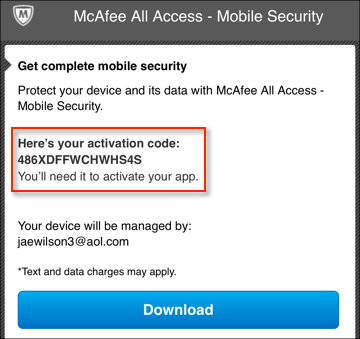 mcafee activation code free